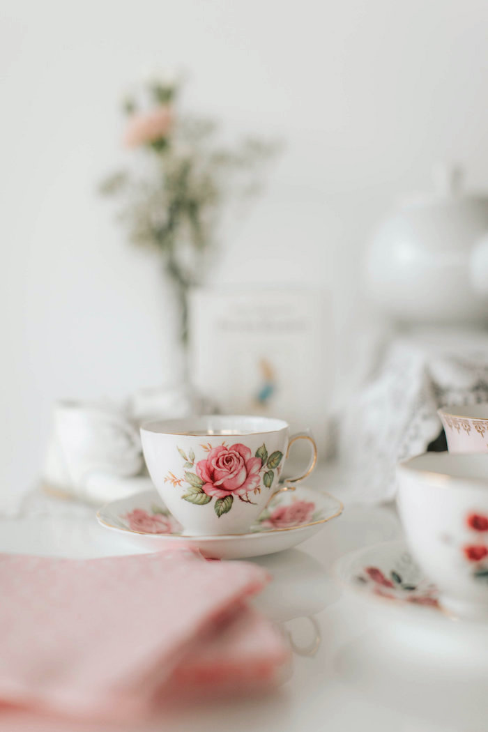Rose tea cup & saucer from a Floral Love Baby Shower on Kara's Party Ideas | KarasPartyIdeas.com (27)