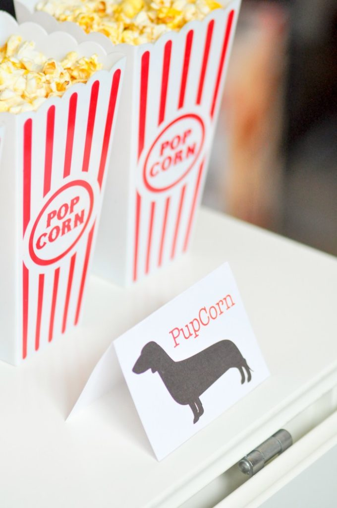 Too cute! PUPcorn for popcorn! FREE printable tag! Modern French Bulldog and Friends dog birthday party by Karas Party Ideas | KarasPartyIdeas.com with FREE PRINTABLE PLACE CARDS, TAGS, BACKDROP, SIGNS AND MORE!