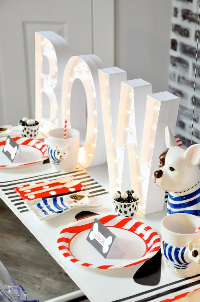 I love the bow wow marquee lights! Modern French Bulldog and Friends dog birthday party by Karas Party Ideas | KarasPartyIdeas.com with FREE PRINTABLE PLACE CARDS, TAGS, BACKDROP, SIGNS AND MORE!