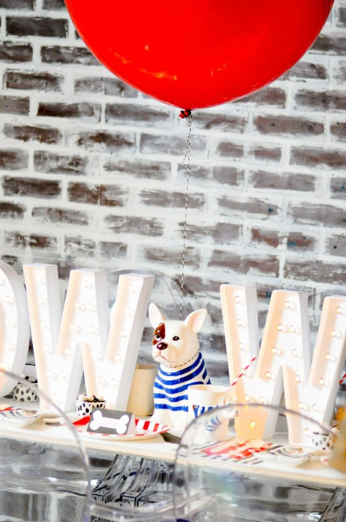 Cute doggy themed party table! Modern French Bulldog and Friends dog birthday party by Karas Party Ideas | KarasPartyIdeas.com with FREE PRINTABLE PLACE CARDS, TAGS, BACKDROP, SIGNS AND MORE!