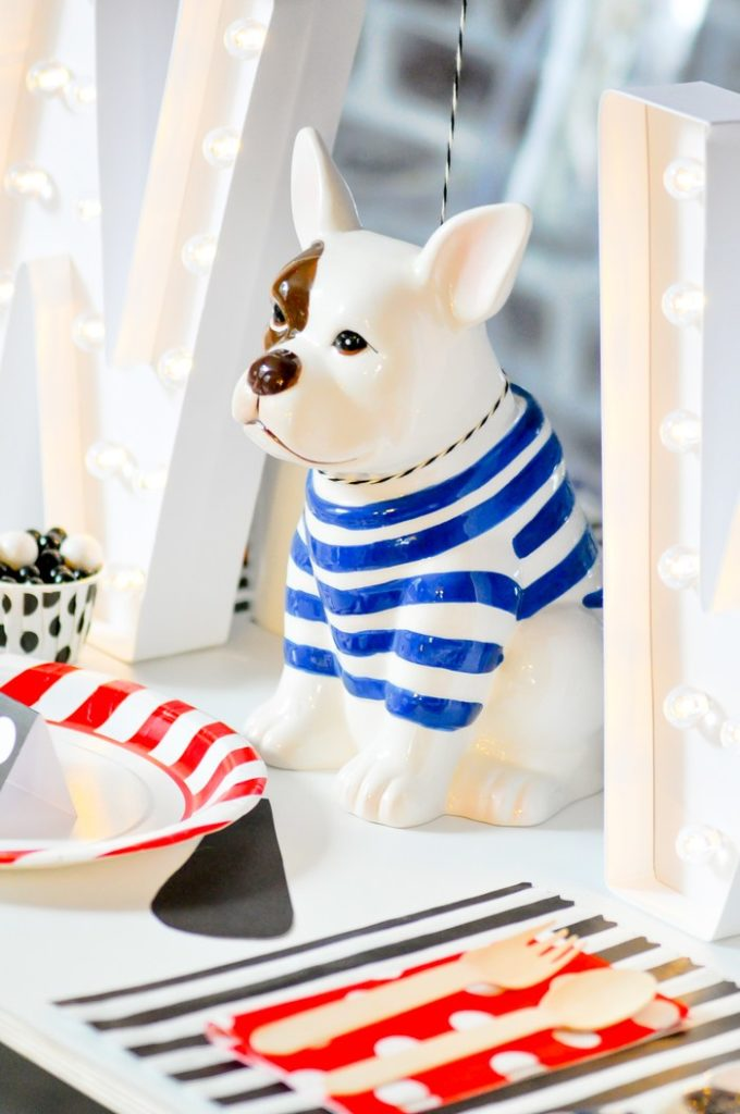 Love the doggy centerpiece! Modern French Bulldog and Friends dog birthday party by Karas Party Ideas | KarasPartyIdeas.com with FREE PRINTABLE PLACE CARDS, TAGS, BACKDROP, SIGNS AND MORE!