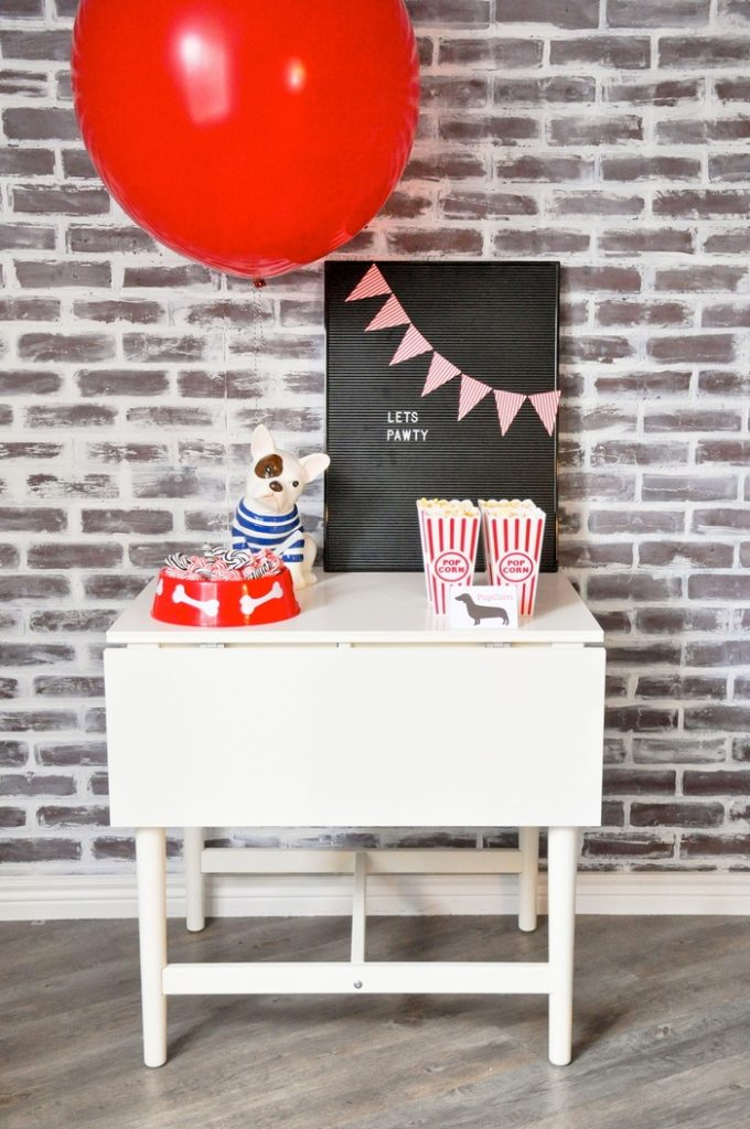 Love the lets pawty sign! Modern French Bulldog and Friends dog birthday party by Karas Party Ideas | KarasPartyIdeas.com with FREE PRINTABLE PLACE CARDS, TAGS, BACKDROP, SIGNS AND MORE!