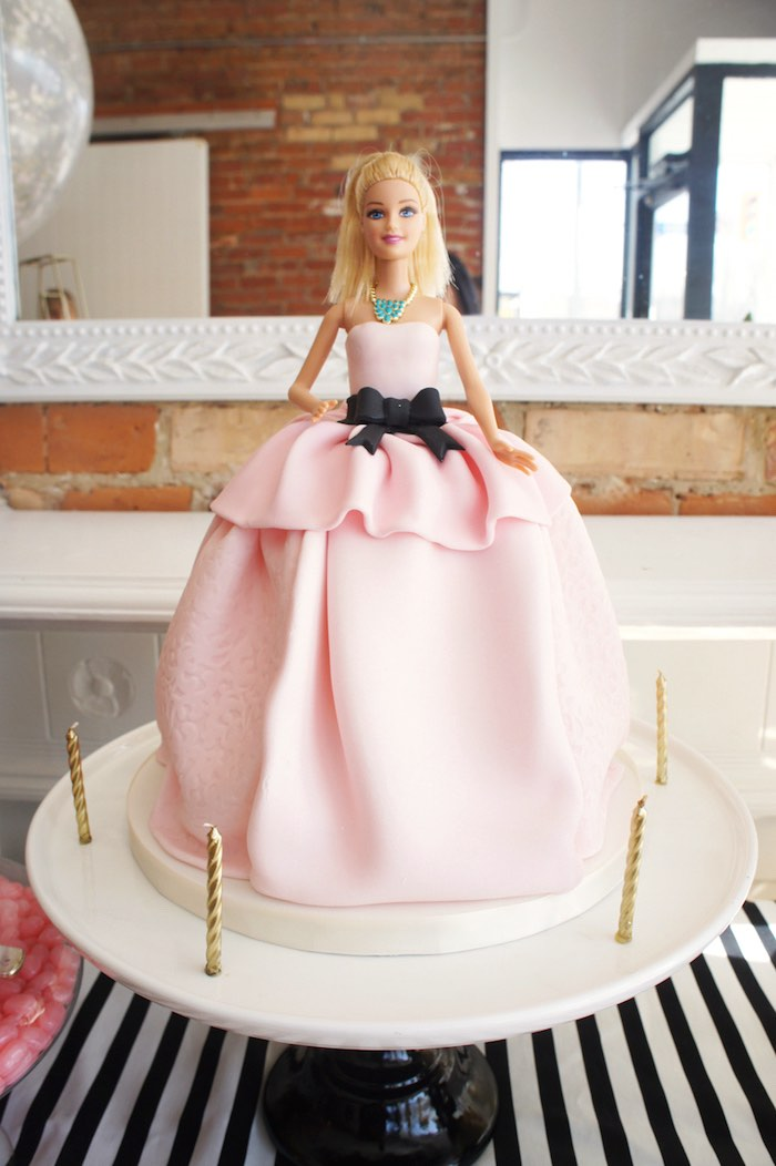 Barbie doll cake from a Glam Barbie Baking Birthday Party on Kara's Party Ideas | KarasPartyIdeas.com (17)