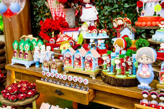 Little Red Riding Hood sweet table from a Little Red Riding Hood Birthday Party on Kara's Party Ideas | KarasPartyIdeas.com (11)