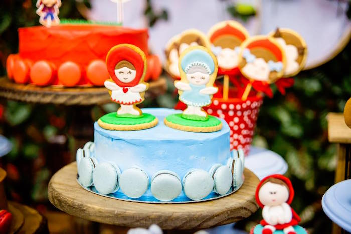 Macaron adorned Little Red Riding Hood Cake from a Little Red Riding Hood Birthday Party on Kara's Party Ideas | KarasPartyIdeas.com (10)