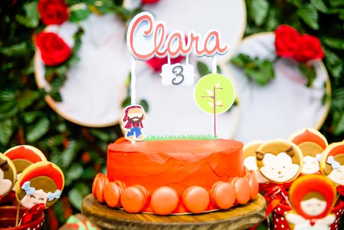 Macaron adorned Little Red Riding Hood Cake from a Little Red Riding Hood Birthday Party on Kara's Party Ideas | KarasPartyIdeas.com (9)
