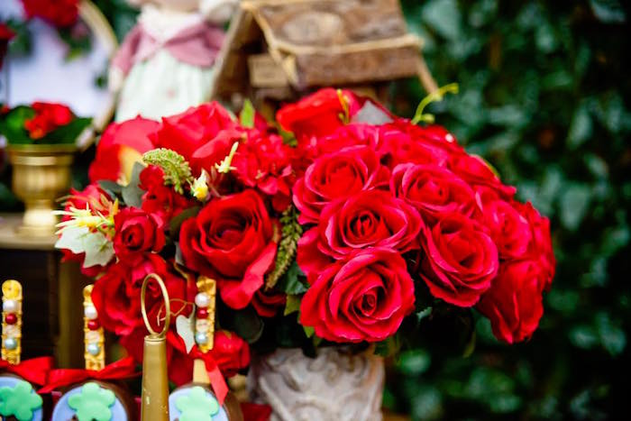 Red roses from a Little Red Riding Hood Birthday Party on Kara's Party Ideas | KarasPartyIdeas.com (16)