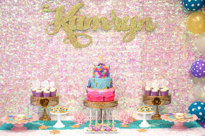 Dessert table from a Magical Mermaid Birthday Party on Kara's Party Ideas | KarasPartyIdeas.com (25)