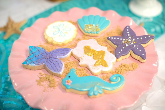 Under the sea sugar cookies from a Magical Mermaid Birthday Party on Kara's Party Ideas | KarasPartyIdeas.com (21)