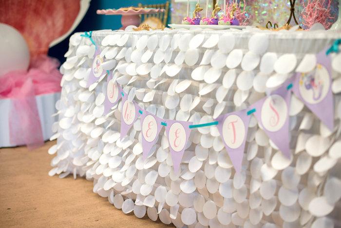 Petal table skirt from a Magical Mermaid Birthday Party on Kara's Party Ideas | KarasPartyIdeas.com (14)