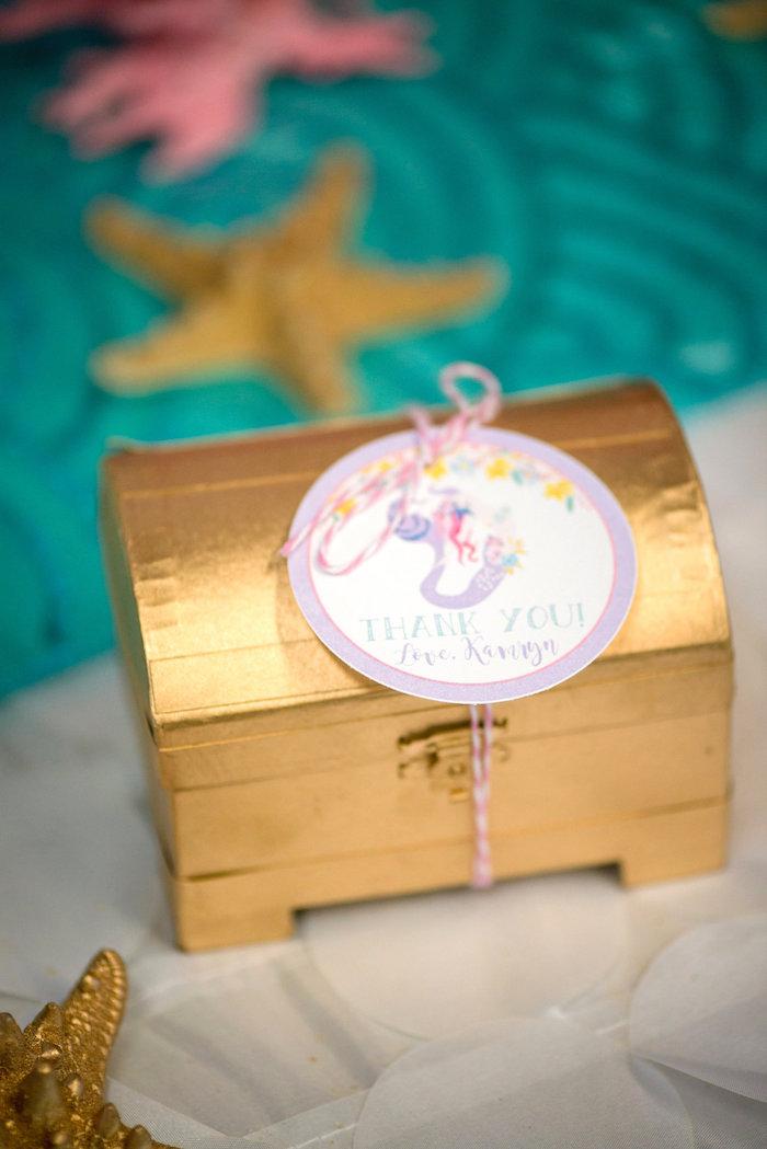 Treasure chest favor box from a Magical Mermaid Birthday Party on Kara's Party Ideas | KarasPartyIdeas.com (13)