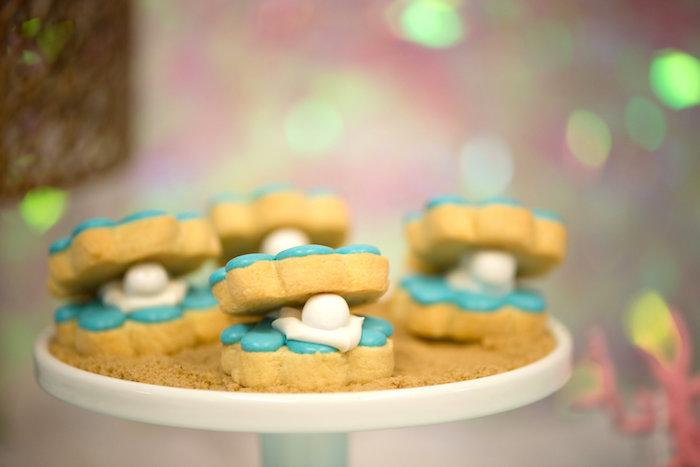 Clam cookies from a Magical Mermaid Birthday Party on Kara's Party Ideas | KarasPartyIdeas.com (12)