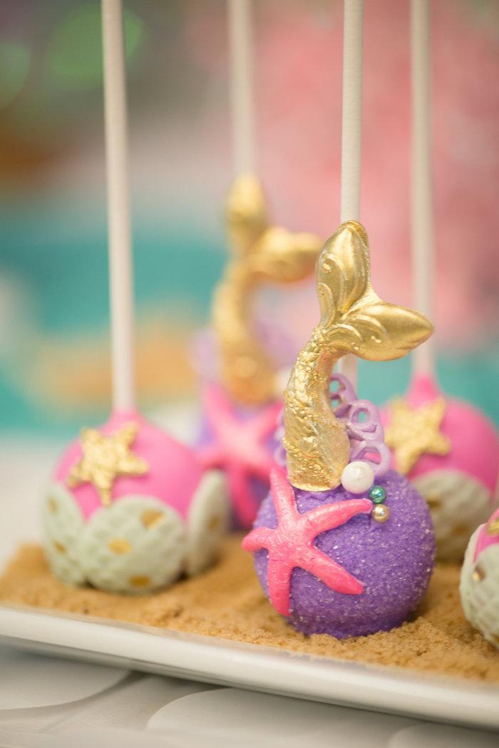 Mermaid cake pops from a Magical Mermaid Birthday Party on Kara's Party Ideas | KarasPartyIdeas.com (11)