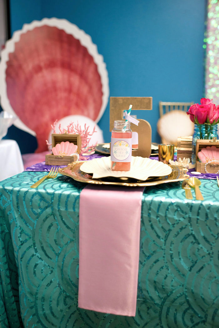 Under the sea place setting from a Magical Mermaid Birthday Party on Kara's Party Ideas | KarasPartyIdeas.com (4)