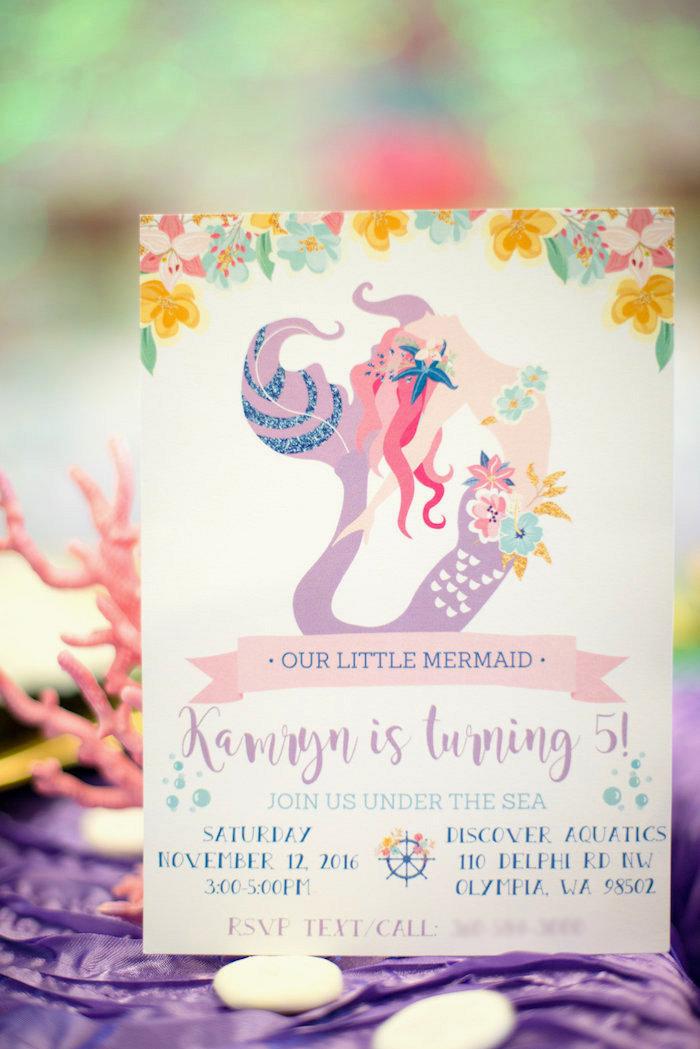 Mermaid invitation from a Magical Mermaid Birthday Party on Kara's Party Ideas | KarasPartyIdeas.com (30)