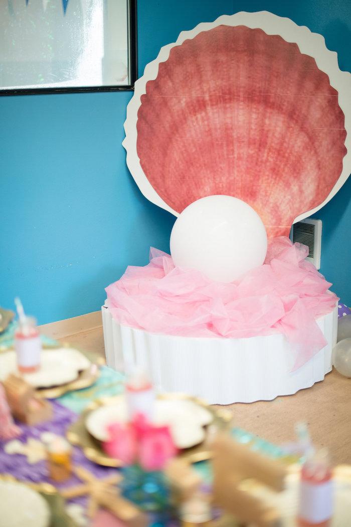 Giant oyster shell from a Magical Mermaid Birthday Party on Kara's Party Ideas | KarasPartyIdeas.com (29)