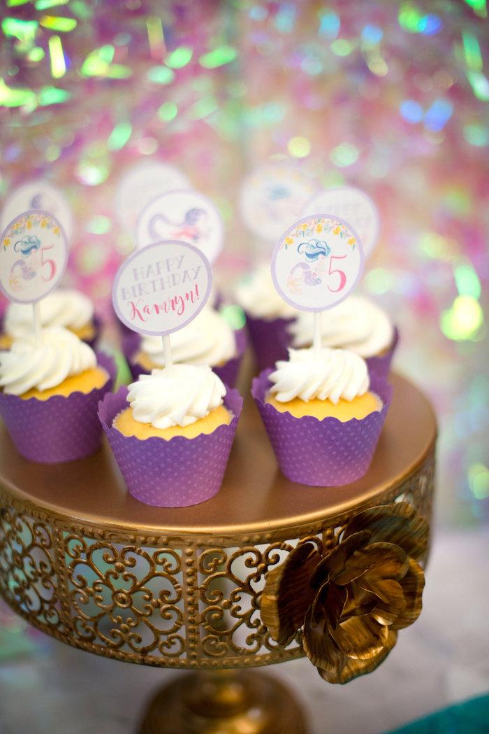 Cupcakes from a Magical Mermaid Birthday Party on Kara's Party Ideas | KarasPartyIdeas.com (28)