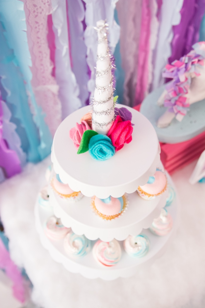 Unicorn dessert pedestal from a Magical Unicorn Party on Kara's Party Ideas | KarasPartyIdeas.com (24)
