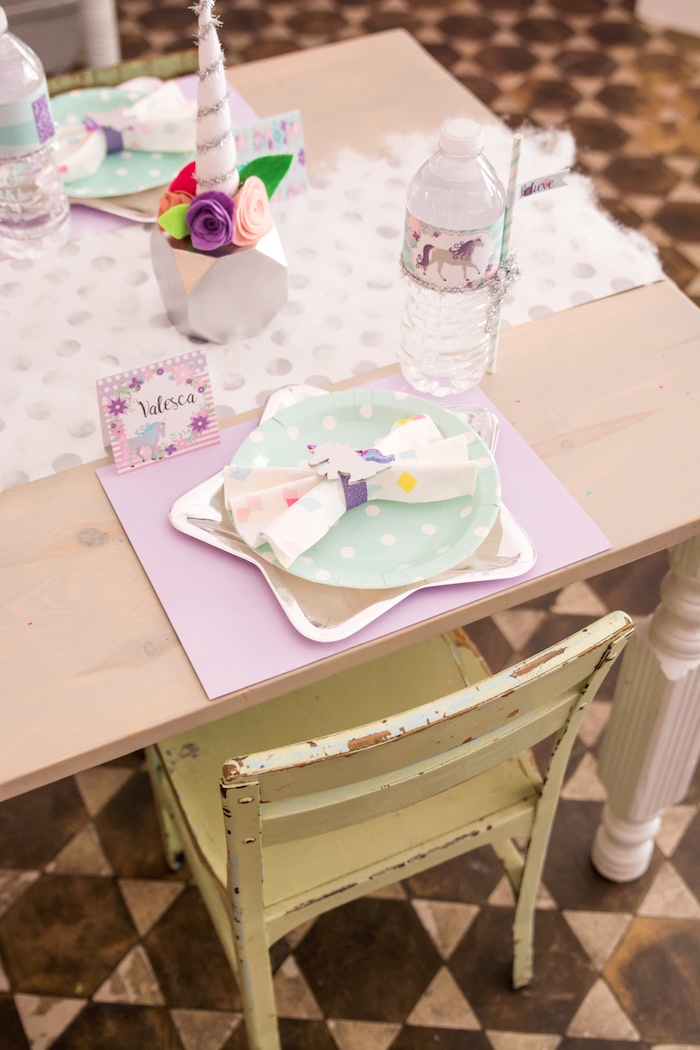 Unicorn star place setting from a Magical Unicorn Party on Kara's Party Ideas | KarasPartyIdeas.com (12)