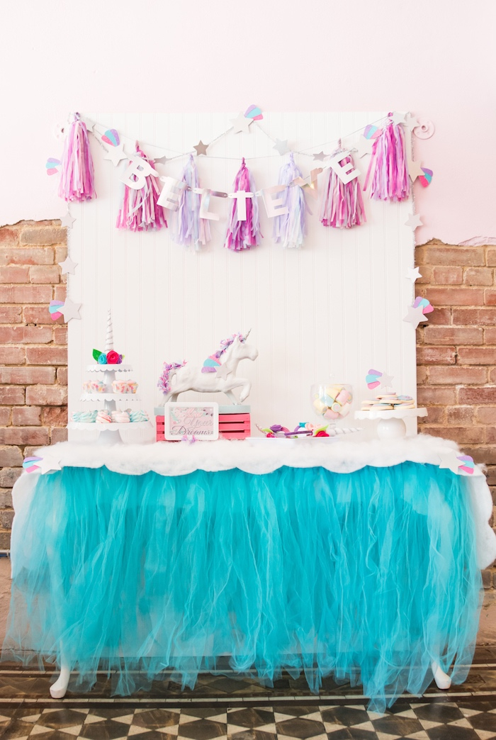 Unicorn dessert table from a Magical Unicorn Party on Kara's Party Ideas | KarasPartyIdeas.com (35)