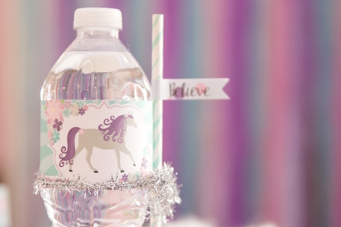 Unicorn water bottle label from a Magical Unicorn Party on Kara's Party Ideas | KarasPartyIdeas.com (6)