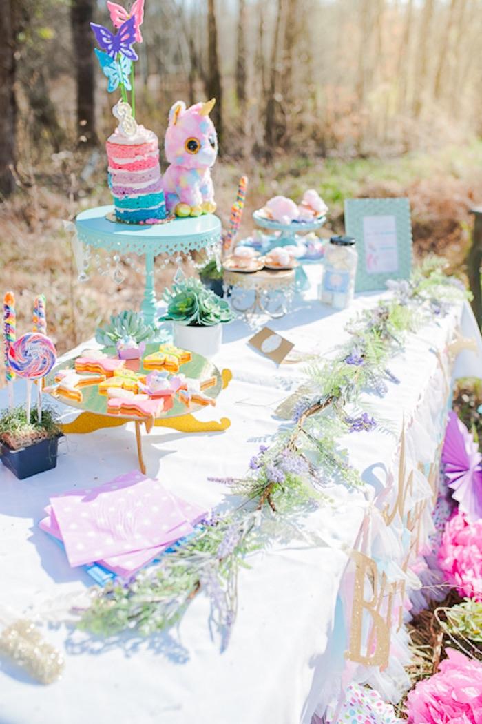Dessert tablescape from a Magical Unicorns, Fairies & Rainbows Birthday Party on Kara's Party Ideas | KarasPartyIdeas.com (27)
