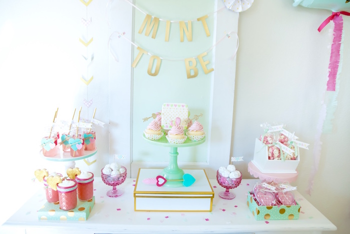 """Mint to Be"" dessert table from a Mint To Be BFF Valentine's Day Party on Kara's Party Ideas 