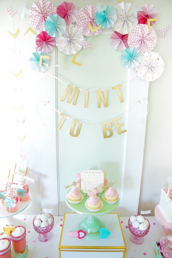 """Mint to Be"" frame backdrop from a Mint To Be BFF Valentine's Day Party on Kara's Party Ideas 