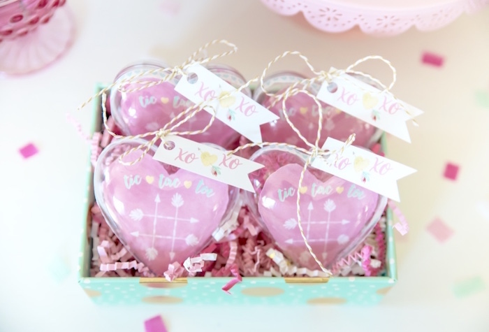 Heart favors from a Mint To Be BFF Valentine's Day Party on Kara's Party Ideas | KarasPartyIdeas.com (25)