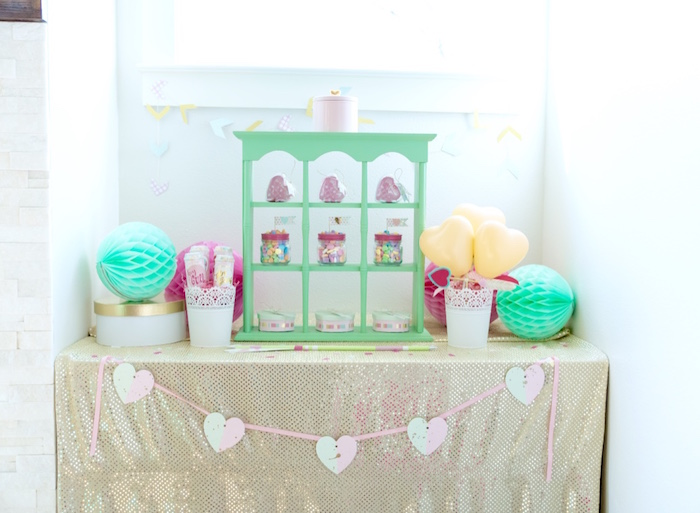 Valentine's party table from a Mint To Be BFF Valentine's Day Party on Kara's Party Ideas | KarasPartyIdeas.com (20)