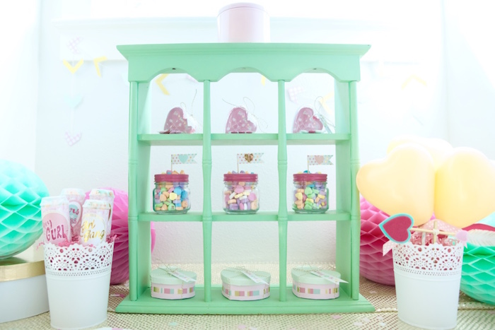 Mint shelf from a Mint To Be BFF Valentine's Day Party on Kara's Party Ideas | KarasPartyIdeas.com (18)