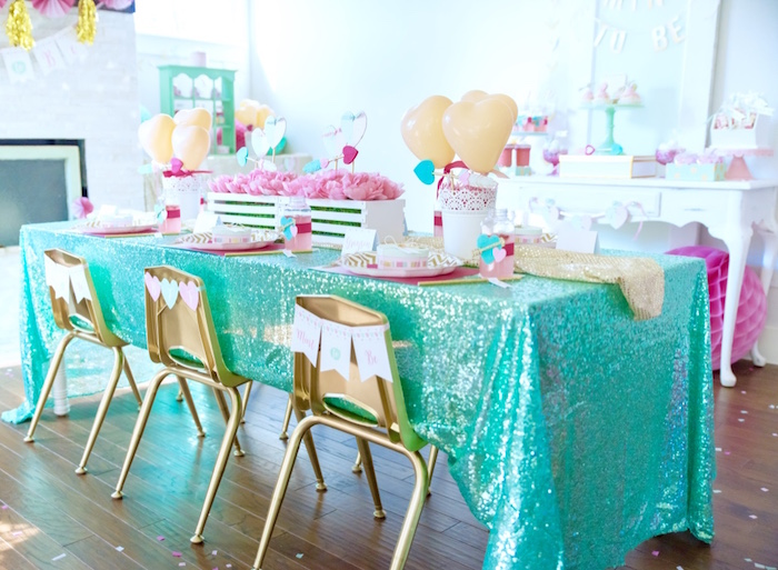 Guest table from a Mint To Be BFF Valentine's Day Party on Kara's Party Ideas | KarasPartyIdeas.com (14)