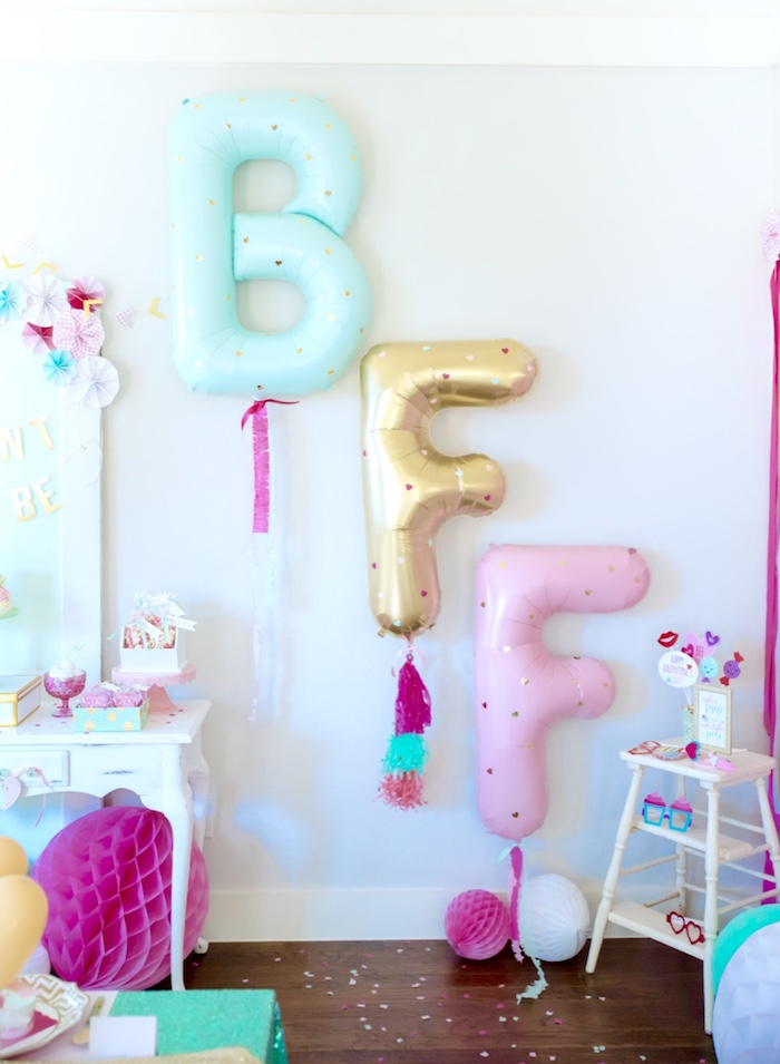 BFF mylar balloon banner from a Mint To Be BFF Valentine's Day Party on Kara's Party Ideas | KarasPartyIdeas.com (12)
