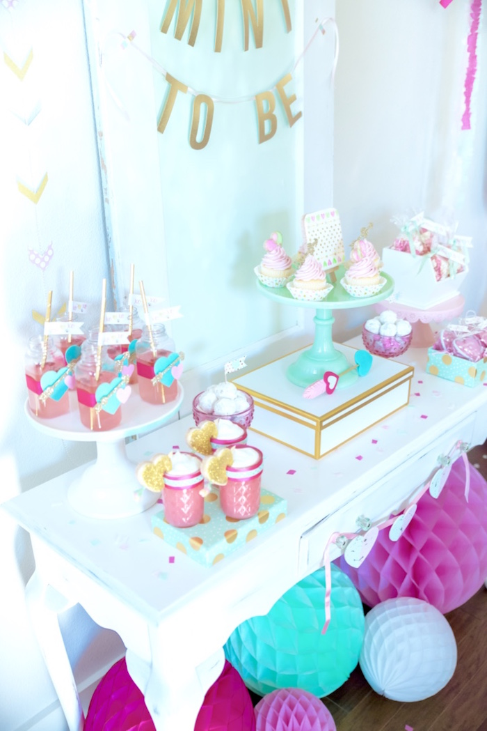 Dessert table from a Mint To Be BFF Valentine's Day Party on Kara's Party Ideas | KarasPartyIdeas.com (10)