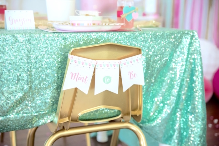 Mint to Be chair banner from a Mint To Be BFF Valentine's Day Party on Kara's Party Ideas | KarasPartyIdeas.com (39)