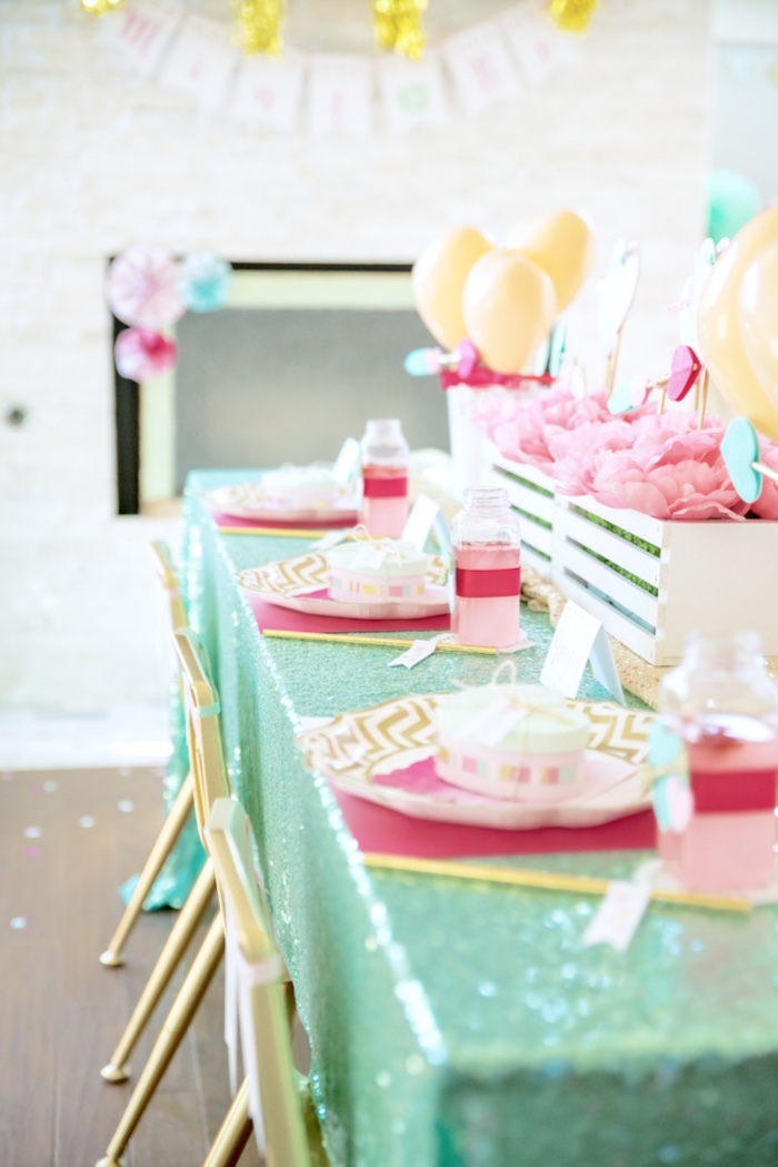 Mint, pink and gold guest tablescape from a Mint To Be BFF Valentine's Day Party on Kara's Party Ideas | KarasPartyIdeas.com (37)