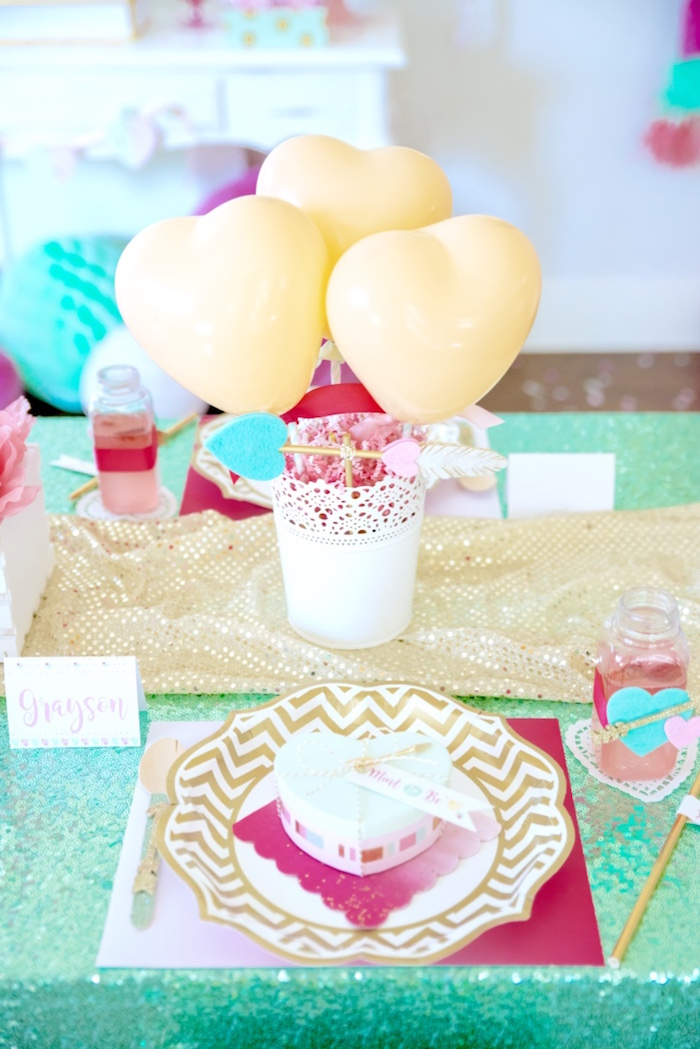 Valentine's Day place setting from a Mint To Be BFF Valentine's Day Party on Kara's Party Ideas | KarasPartyIdeas.com (36)
