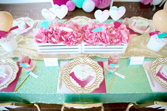 Valentine's Day guest tabletop from a Mint To Be BFF Valentine's Day Party on Kara's Party Ideas | KarasPartyIdeas.com (35)