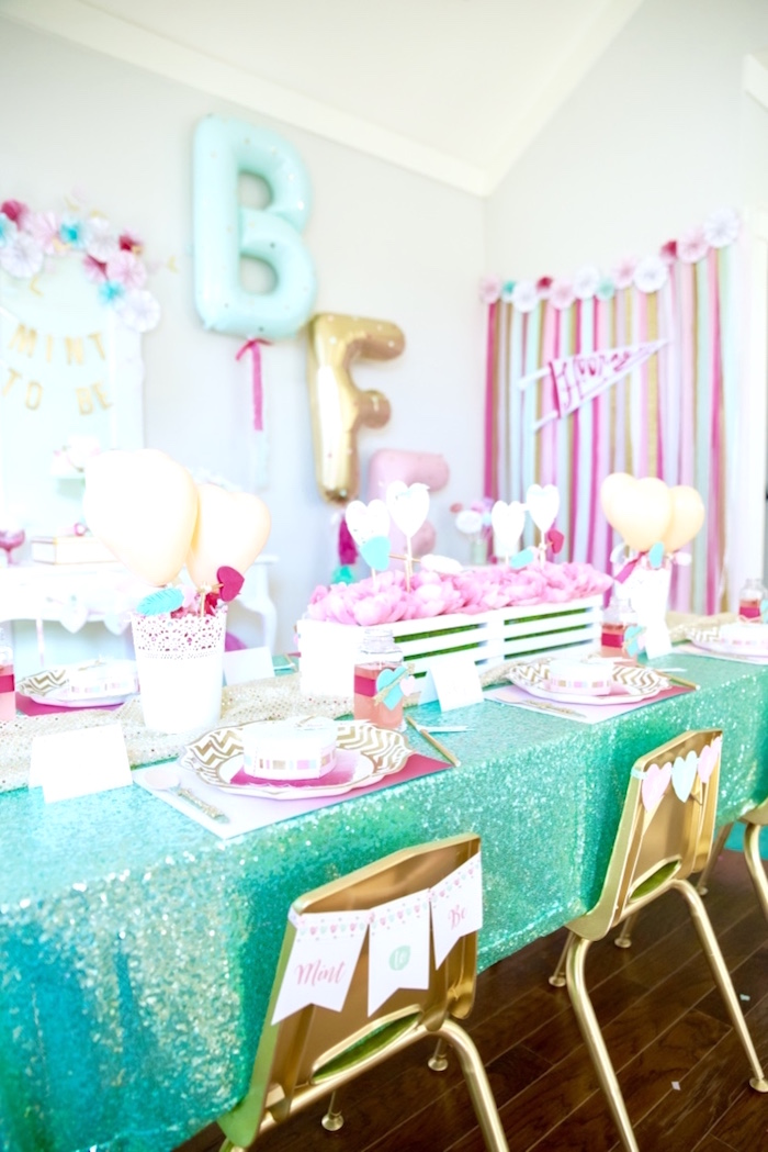 Guest table from a Mint To Be BFF Valentine's Day Party on Kara's Party Ideas | KarasPartyIdeas.com (34)