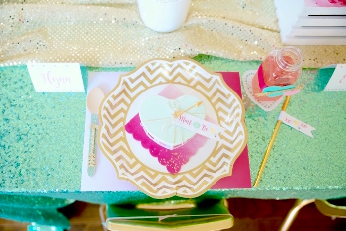 Pink, gold and mint place setting from a Mint To Be BFF Valentine's Day Party on Kara's Party Ideas | KarasPartyIdeas.com (33)