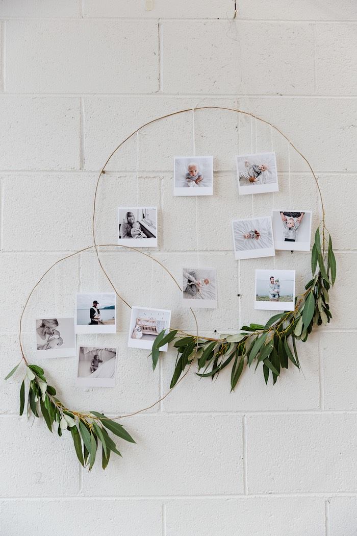 Photo wreaths from a Modern + Rustic 1st Birthday Party on Kara's Party Ideas | KarasPartyIdeas.com (21)