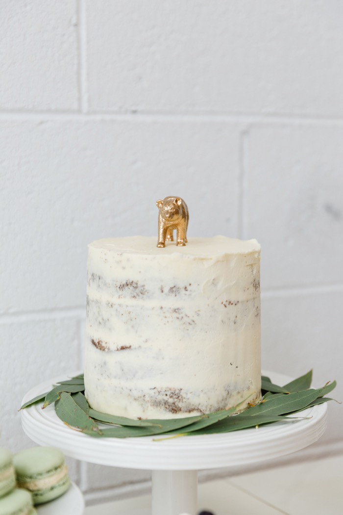 Semi-iced cake from a Modern + Rustic 1st Birthday Party on Kara's Party Ideas | KarasPartyIdeas.com (13)