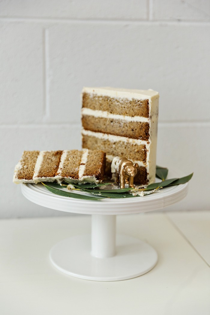 Sliced cake from a Modern + Rustic 1st Birthday Party on Kara's Party Ideas | KarasPartyIdeas.com (9)