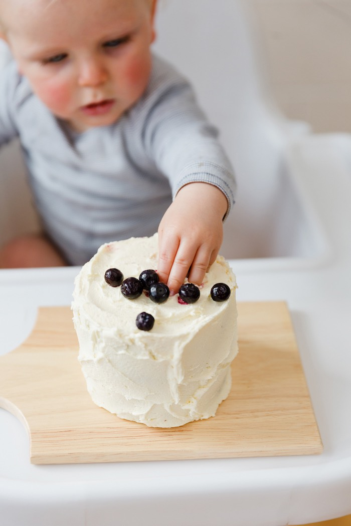 Smash cake topped with blueberries from a Modern + Rustic 1st Birthday Party on Kara's Party Ideas | KarasPartyIdeas.com (8)