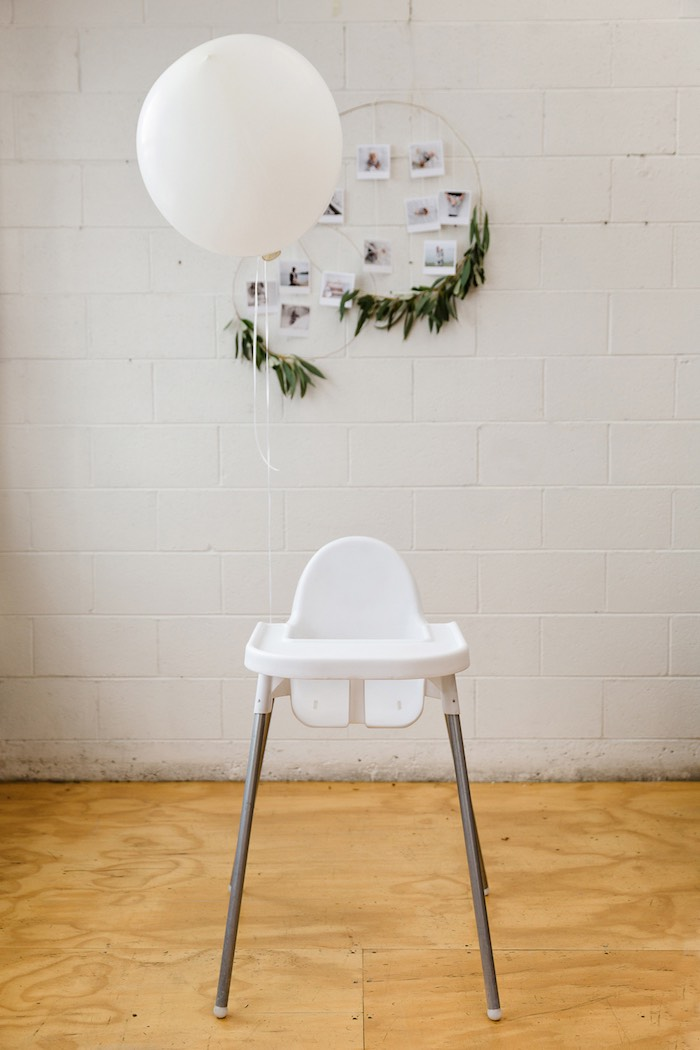 High chair from a Modern + Rustic 1st Birthday Party on Kara's Party Ideas | KarasPartyIdeas.com (7)