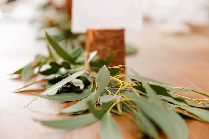 Leaf garland from a Modern + Rustic 1st Birthday Party on Kara's Party Ideas | KarasPartyIdeas.com (32)