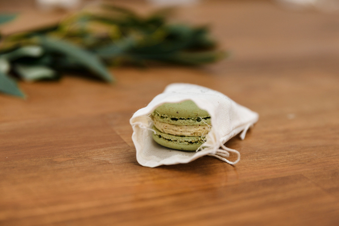 Macaron + drawstring favor bag from a Modern + Rustic 1st Birthday Party on Kara's Party Ideas | KarasPartyIdeas.com (29)