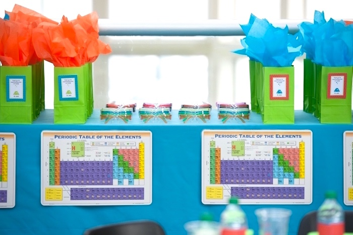Periodic Element favor table from a Modern Science Birthday Party on Kara's Party Ideas | KarasPartyIdeas.com (20)