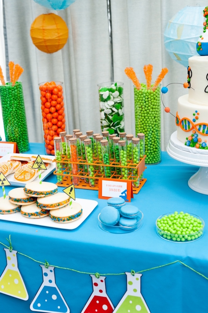 Sweets and treats from a Modern Science Birthday Party on Kara's Party Ideas | KarasPartyIdeas.com (12)