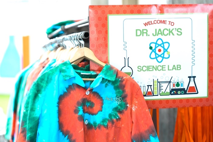 Tie-dye science lab coats from a Modern Science Birthday Party on Kara's Party Ideas | KarasPartyIdeas.com (36)